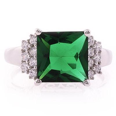 Big Emerald Princess Silver Ring
