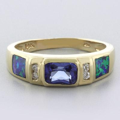 Black Australian Opal Tanzanite Gold Ring
