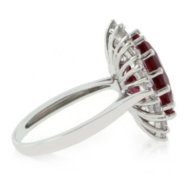 ruby princess kate style silver ring