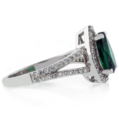Pear Cut Micro Pave Emerald Ring