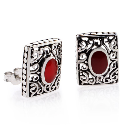 Vintage Red Coral Sterling Silver Earrings