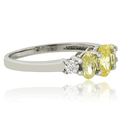 3 Oval Cut Citrine Silver Ring