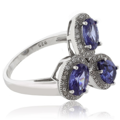 3 Oval Cut Tanzanite .925 Sterling Silver Ring