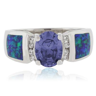 Blue Australian Opal Ring with Tanzanite