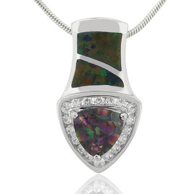 Mystic Topaz and Australian Opal Silver Pendant