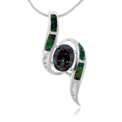 Australian Opal And Mystic Topaz Silver Pendant