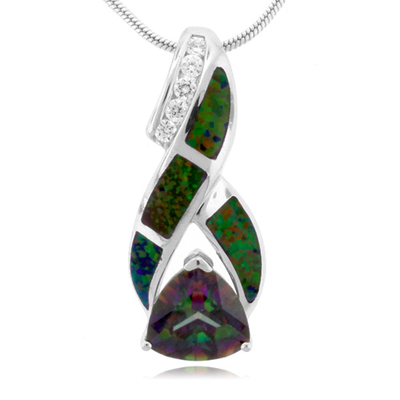 Australian Opal And Topaz Silver Pendant