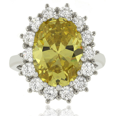 Big Oval Cut Citrine Sterling Silver Ring