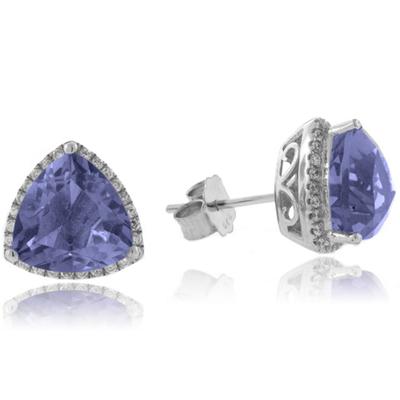 Corundum Alexandrite Trillion Cut Silver Earrings