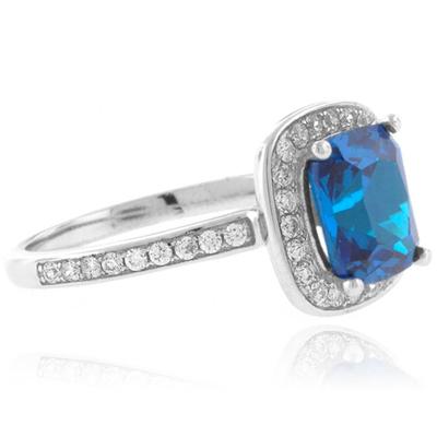 Cushion Cut Blue Topaz Sterling Silver Ring