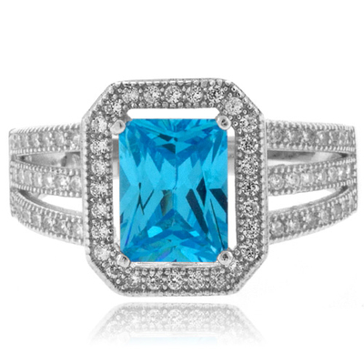 Emerald Cut Blue Topaz Sterling Silver Ring
