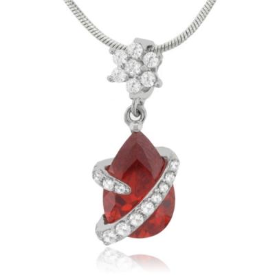 Mexican Fire Opal Flower Silver Pendant