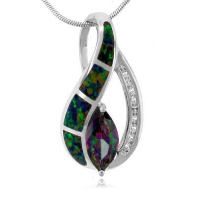 Marquise Cut Mystic Topaz Silver Pendant