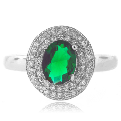 Micro Pave Emerald Sterling Silver Ring