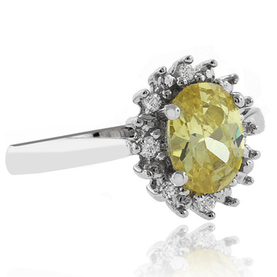 Oval Cut Citrine Silver Ring