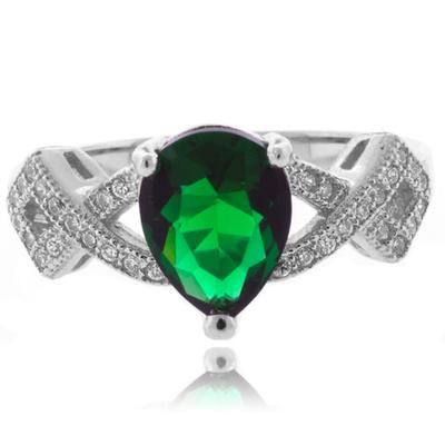 Pear Cut Fashion Emerald Sterling Silver Ring
