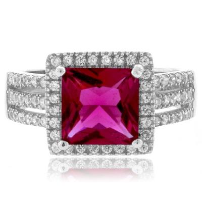 Princess Cut Pink Tourmaline Silver Ring