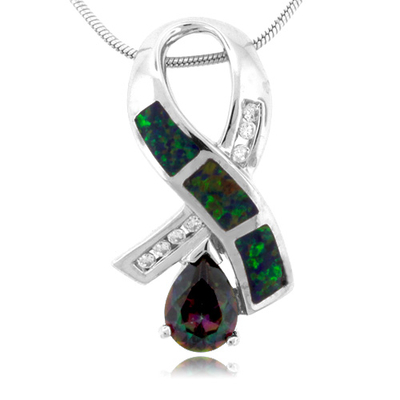 Three Stone Opal And Topaz Silver Pendant