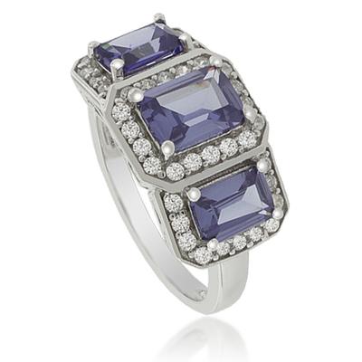 3 Emerald-Cut Tanzanite Sterling Silver Ring