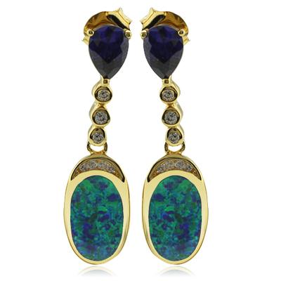 Beautiful Gold Plated Earrings with Australian Opal and Tanzanite in Drop Cut