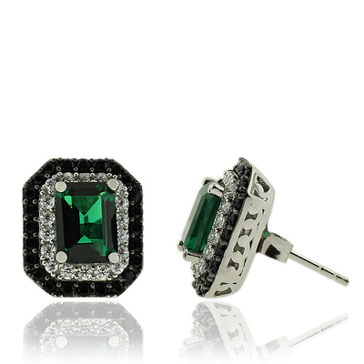 Beautiful Emerald Earrings With Simulated Diamonds