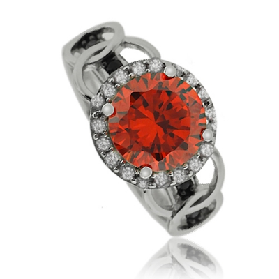 Gorgeous Round Cut Fire Opal Ring With Simulated Diamonds