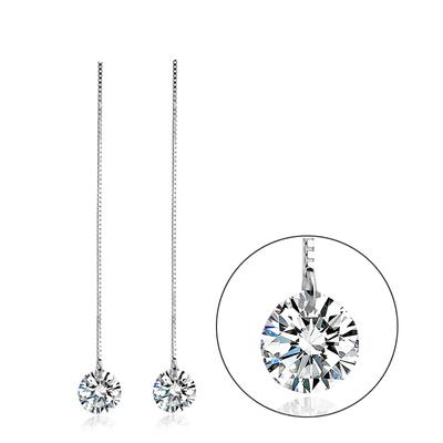 Sterling Silver White Swarovski Drop Earrings