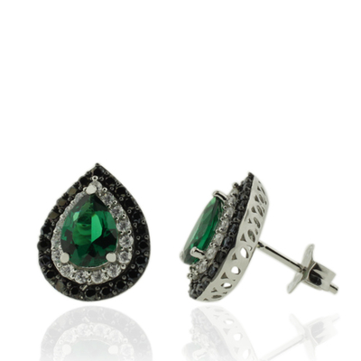 Beautiful Earrings With Pear Cut Emerald and Simulated Diamonds