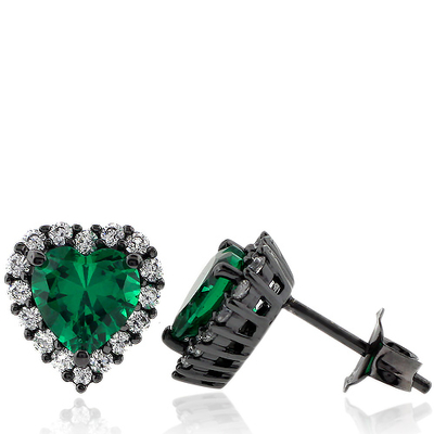 Beautiful Heart Shape Emerald and Black Silver Earrings with Simulated Diamonds