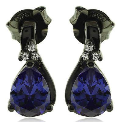 Drop Cut Tanzanite Earrings with Zirconia In Black Silver.