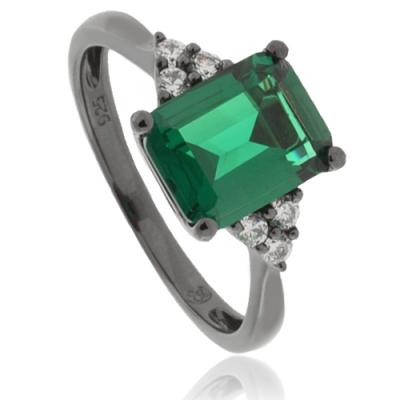 Beautiful Emerald Oxidized Silver Ring