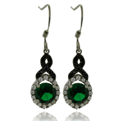 Pretty Round Cut Emerald Earrings With Simulated Diamonds