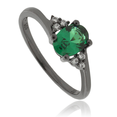 Engagement Emerald Black Silver Ring