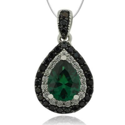 Great Pear Cut Emerald Pendant With Simulated Diamonds