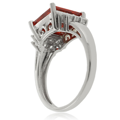 Big Mexican Fire Opal Princess Cut Stone Silver Ring