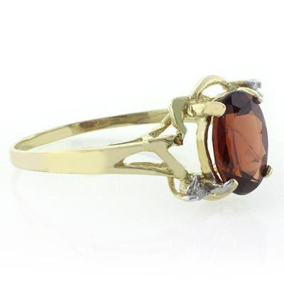 10K Yellow Gold Natural Red Garnet Ring