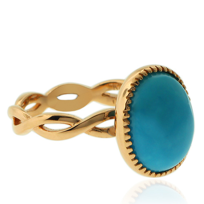 High Quality Natural Turquoise 18K Yellow Gold Infinity Ring