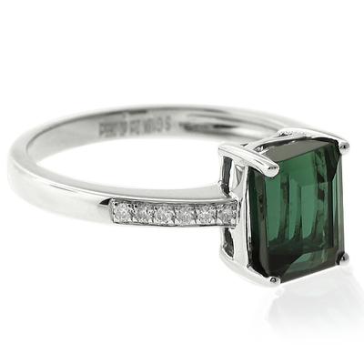 Natural Mined Green Tourmaline Diamonds 14K White Gold Ring