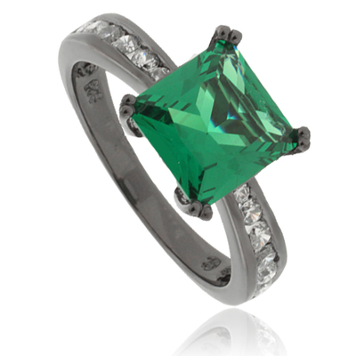 Princess-Cut Emerald Black Silver Ring Emerald (approx = 2 carat) + Simulated Diamonds