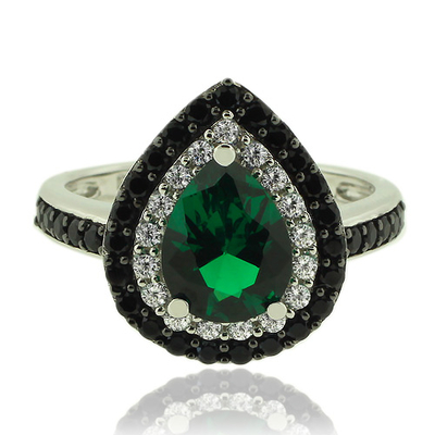Amazing Sterling Silver and Pear Cut Emerald Ring With Simulated Diamonds