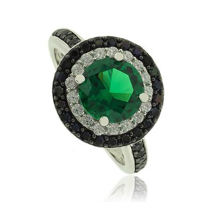 Beautiful Round Cut Emerald Ring With Simulated Diamonds