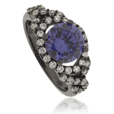 Round-Cut Tanzanite Oxidized Silver Ring