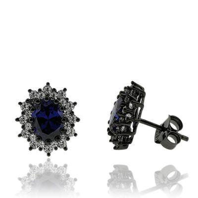 Beautiful Oval Cut Tanzanite Earrings with Zirconia In Black Silver.