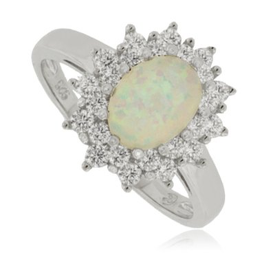 Beautiful White Opal and Sterling Silver Ring
