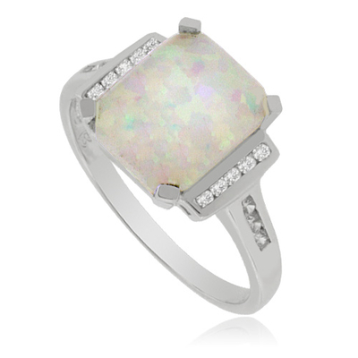 Sterling Silver Ring with Zirconia and Big White Opal Gemstone