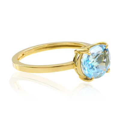 Natural Oval Cut Blue Topaz Engagement 14k Yellow Gold Ring