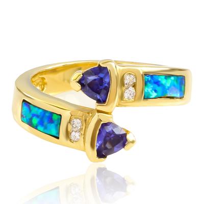 Black Australian Blue Opal Tanzanite Gold Ring
