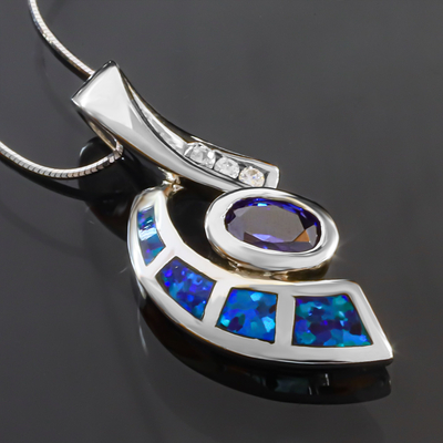 Australian Opal Pendant with Tanzanite