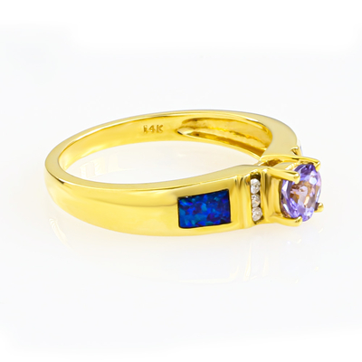 Stunning Genuine Tanzanite and Opal Gold Ring