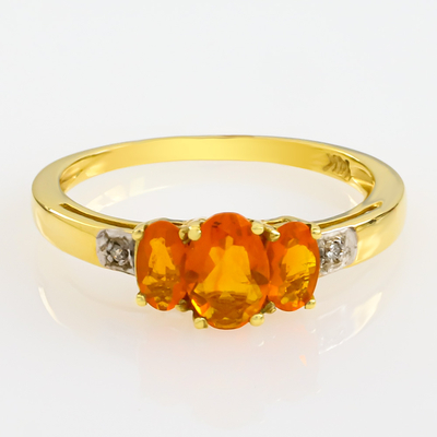 Beautiful Authentic 3 stone Mexican Fire Cherry Opal and Genuine Diamond ring
